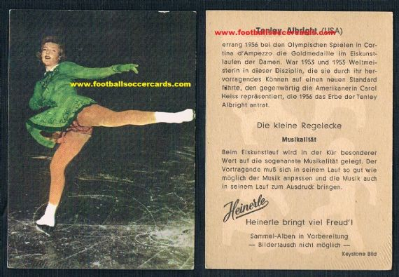 1960 Heinerle Tenley Allbright gold medal winning ice figure skating USA trade card